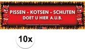 10x Sticky Devil Pissen-Kotsen-Schijten doet u hier a.u.b. grappige teksen stickers