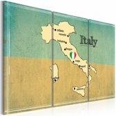 Schilderij - Hart van Italië, Blauw/Beige, 2 Maten, 3luik