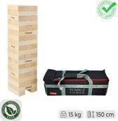 Giga Stapeltorenspel  (Grenenhout), tot 150 cm hoog, ECO hout, in stevige transsporttas