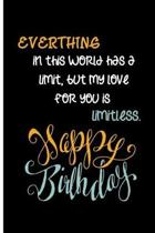 Everthing in this world has a limit, but my love for you is limitless. Happy Birthday