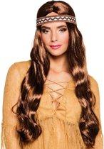 Lange bruine indianenpruik met hoofdband voor vrouwen - Verkleedpruik