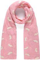 Leuke roze sjaal met veren gestikt