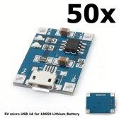 50 Stuks - 5V Micro USB 1A 18650 Battery Charging Board Module