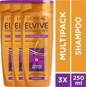L'Oréal Paris Elvive Extraordinary Oil Krulverzorging Shampoo - 3x250ml - Voordeelverpakking