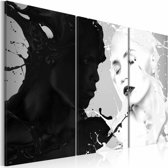 Schilderij - Paradox van gevoelens , hoofd , zwart wit , 3 luik