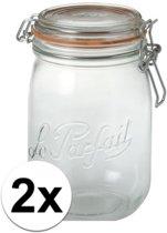 2x stuks Weckpotten/inmaakpotten met klepdeksel 1 liter