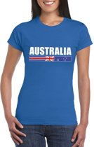 Blauw Australie supporter t-shirt voor dames XS
