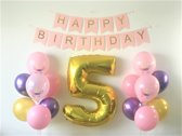 XL Cijferballon Unicorn Party set 5 jaar | nummerballon | nummer ballon | cijfer ballon | eenhoorn