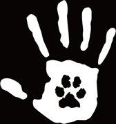 Witte handafdruk met afdruk van dier er in - handafdruk sticker - Love animal - Houd van uw huisdier stikker - 15,7 x 14,8 cm - aut124