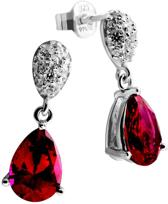 Diamonfire - Zilveren oorhangers Royal Colors - Zirkonia - Pave - Druppel - Rood