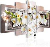 Canvas Schilderij - Orchidee in abstractie , wit roze , 5 luik , 2 maten