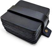Leren Onderzetters  - Vierkant - 14 stuks - Zwarte onderzetters - Onderzetters van leer - Vierkante onderzetters - Onderzetters voor glazen