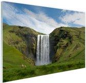 Skogafoss waterval in IJsland Glas 30x20 cm - klein - Foto print op Glas (Plexiglas wanddecoratie)