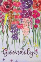 Gwendolyn: Personalized Lined Journal - Colorful Floral Waterfall (Customized Name Gifts)