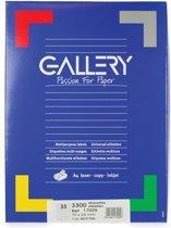 6x Gallery witte etiketten 70x25mm (bxh), rechte hoeken, doos a 3.300 etiketten