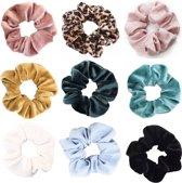 Scrunchie 9 stuks Velvet Extra Vol en Luxe - haarelastiek haarwokkel scrunchies - oudroze - panterprint bruintinten - zijde roze - goud - groenblauw - truquoise - wit - lichtblauw geruit - zwart - Kraagjeskopen.nl