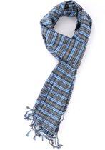 Grijze luxe viscose sjaals met blauwe klassieke ruit - Nette zachte shawl voor heren