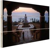 Klooster van Osel Ling Nepal Hout 80x60 cm - Foto print op Hout (Wanddecoratie)