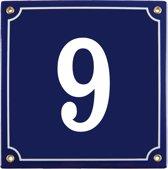 Emaille huisnummer blauw nr. 9