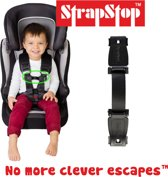 StrapStop - veiligheidsgordel riem - Voorkom dat Kids armen uit veiligheidsharnas kunnen halen van autostoel, buggy of kinderstoel (Zwart)