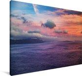 Santorini  Griekenland bij zonsondergang Canvas 140x90 cm - Foto print op Canvas schilderij (Wanddecoratie woonkamer / slaapkamer) / Europese steden Canvas Schilderijen