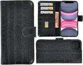 iPhone 11 Cover Wallet Bookcase Pearlycase Echt Leder hoesje Croco Zwart