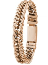 Lucardi - Stalen armband schakel roseplated