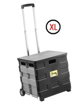 Super Fold-N-Roll XL Vouwkrat op wielen met deksel 50 liter - Zwart/Grijs