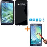 Comutter Silicone hoesje Samsung Galaxy A3 (2015) zwart met tempered glas screenprotector