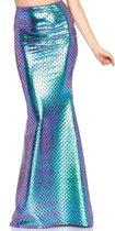 Leg Avenue 86710 Glanzende lange mermaid zeemeermin rok met schubben patroon blauw - Kostuum Party (L)