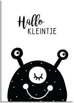 Kinderkamer poster Hallo Kleintje DesignClaud - Beest - Zwart wit - A3 poster