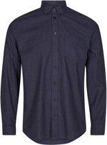 Minimum Heren Overhemd Jay 2.0 Navy Egaal Flannel Slim Fit - M