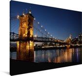 Hangbrug over de rivier van Ohio in de Verenigde Staten Canvas 180x120 cm - Foto print op Canvas schilderij (Wanddecoratie woonkamer / slaapkamer) XXL / Groot formaat!