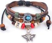 Leren armband met kralen en vlinder
