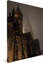 De kerk van Freiburg in de avond in Duitsland Canvas 90x140 cm - Foto print op Canvas schilderij (Wanddecoratie woonkamer / slaapkamer) / Europese steden Canvas Schilderijen