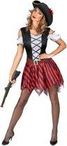 Rood en zwart gestreept piratenkostuum voor vrouwen - Volwassenen kostuums