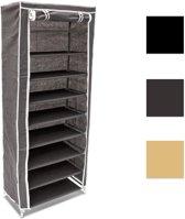 relaxdays Schoenenkast groot, Opvouwbare stoffen kast schoenen, Max. 39 paar, 151 cm hoog. beige