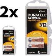 12 Stuks (2 Blister a 6st) Duracell ActivAir 312 MF (Hg 0%) Hearing Aid Gehoorapparaat batterijen