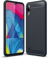 Teleplus Samsung Galaxy A10 Custom Carbon Silicone Case Navy Blue hoesje
