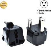 TravelBuddy Reisstekker – EU naar Zuid-Afrika - India - Type M stekker - Plug - Universele reis stekker - Reis Verloopstekker - Wereldstekker - Oplader - Adapter - Zwart