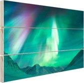 Prachtig noorderlicht boven de bergen Hout 80x60 cm - Foto print op Hout (Wanddecoratie)
