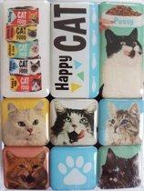 Nostalgic Art Magneet - Happy Cat - Set van 9 Magneten met poes/kat afbeeldingen