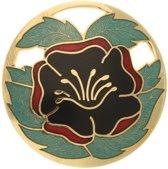 Behave® Broche rond met bloem rood groen - emaille sierspeld -  sjaalspeld  4,5 cm