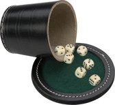 Pokerbeker met deksel, zw leder Ø 9cm incl. 6  dobbelstenen 18mm