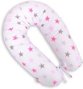 Voedingskussen XL Stars Grijs/Roze