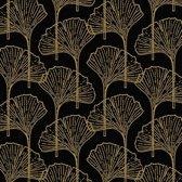 60x Zwart/gouden ginkgo blad print servetten 33 x 33 cm - Thema zwart/goud - Tafeldecoratie versieringen