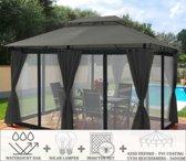 Partytent - 4x3 - Waterdicht Dak - Zijwanden - Insectennet - Solar - Antraciet Paviljoen