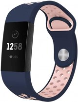 123Watches.nl Fitbit charge 3 sport band - donkerblauw roze - ML