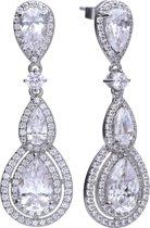 Diamonfire - Zilveren oorhangers Bridal - Zirkonia - Glam