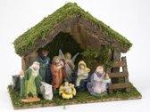Kerststal hout met 9 figuren (5535)